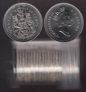 1994 Canada 50 Cents - BU ROLL 20 Coins in Plastic Tube