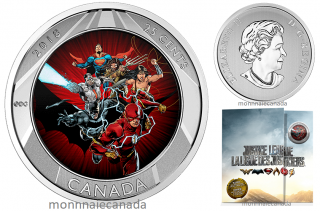 2018 - 25 Cents - 3D Coin and Two Trading Cards - The Justice LeagueTM