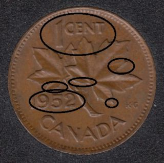 1952 - Double 952 & ML + Double 1 CENT - Canada Cent