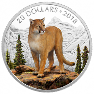 2018 - $20 - 1 oz. Pure Silver Coloured Coin - Majestic Wildlife: Courageous Cougar