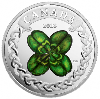 2018 - $20 - Lucky Four Leaf Clover - 1 oz. Pure Silver Coloured Coin