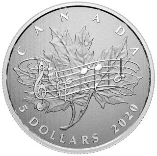 2020 - $5 - Pièce de 1/4 oz en argent pur – Grands moments : 40e anniversaire de la Loi sur l'hymne national