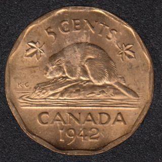 1942 - Tombac - B.Unc - Canada 5 Cents