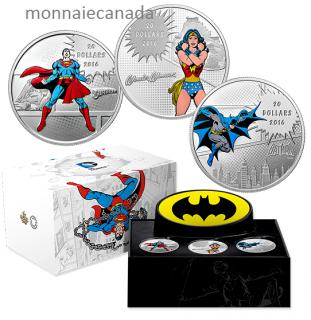2016 - $20 - 1 oz. Pure Silver Coloured 3-Coins Set – DC ComicsTM Originals