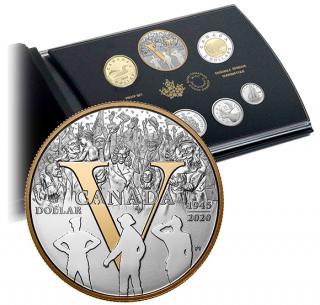 2020 - Ensemble épreuve numismatique en argent pur - 75e anniversaire du jour de la Victoire en Europe