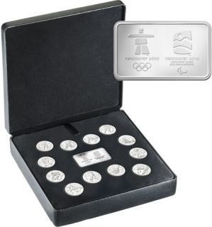 2010 Canada Vancouver Sterling Silver Circulation Coin Set and Wafer - 25 cents