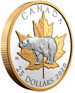 2020 - $25 - Piedfort de 1 oz en argent pur avec placage d'or – Emblèmes intemporels : L'ours polaire