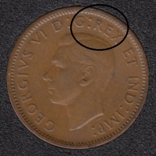 1940 - Break REX Attached to RIM - Canada Cent