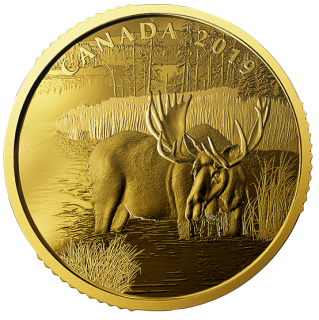 201- - $200 - 1 oz. 99.999% Pure Gold Coin - Canadian Moose