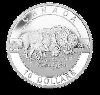 2014 - $10 - 1/2 oz. Fine Silver Coin - O Canada - Bison