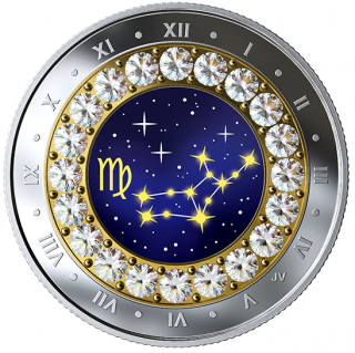 2019 - $5 - Virgo: Zodiac Series - Pure Silver Coin made with Swarovski® Crystals