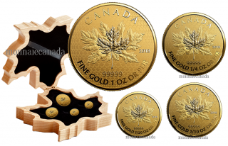 2017 - 99.999% Pure Gold 4-Coin Fractional reverse proof Set - The Maple Leaf