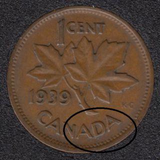 1939 - Break 'ADA' - Canada Cent