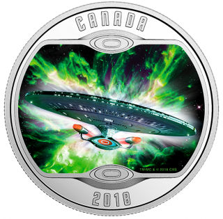 2018 - $10 - Star Trek™: The Next Generation - Pure Silver Coloured Coin