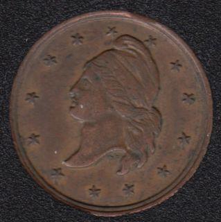 1863 Civil War Token Store Card M.F.Beirn Magnolia Hotel Philadelphia PA