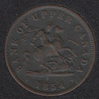 P.C. 1854 Bank of Upper Canada Penny - VF - PC-6C1