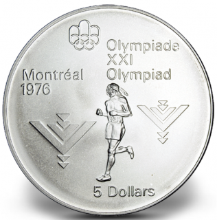 1976 - #14 (1975) - $5 - Sterling Silver Coin, Montreal Summer Olympic Games, Marathon