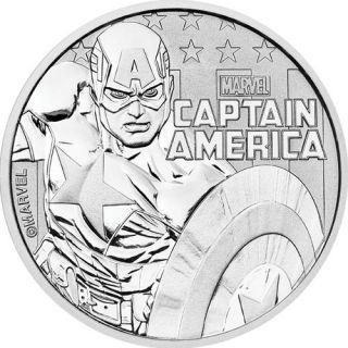 2019 Tuvalu CAPTAIN AMERICA Marvel Series 1oz Silver Bullion Coin Mint Capsule