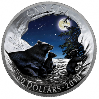 2018 - $50 - Like a luminous lullaby, moonlight spills across the nocturne on your coin, where it lights up the landsc5 oz. Pure Silver Glow-in-the-Dark Coin - Nature's Light Show: Moonlit Tranquility