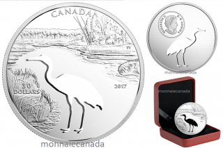 2017 - $30 - 1.7 oz. Pure Silver Coin - Endangered Animal Cutout: Whooping Crane
