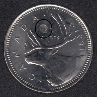 1991 - B.Unc - Planchet Flaw - Canada 25 Cents