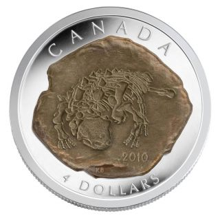 2010 - $4 - Fine Silver Coin - Dinosaur Euoplocephalus - Tax Exempt