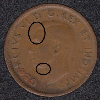1945 - Double Head - Dot on Neck - Canada Cent