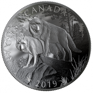 2019 - $100 - 10 oz. Pure Silver Double-Concave Coin - Wolves: Nature's Grandeur Series