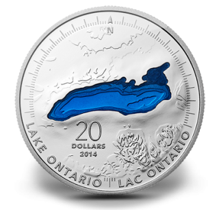 2014 - $20 - 1 oz. Fine Silver Coin - Lake Ontario
