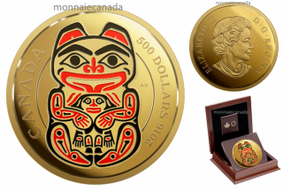 2016 - $500 - 5 oz. Pure Gold Coin with Enamel – Mythical Realms of the Haida Series: The Bear