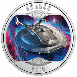 2018 - $10 - Star Trek™: Enterprise NX-01 - Pure Silver Glow-In-The-Dark Coloured Coin