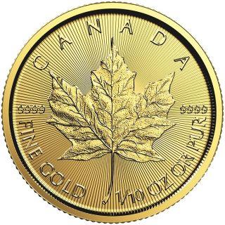 2017 - $5 - 1/10 oz en Or Fine Gold 9999 - Gold Maple Leaf
