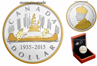 2015 - $1.00 - Pure Silver Voyageur 2 oz. Gold-Plated Coin