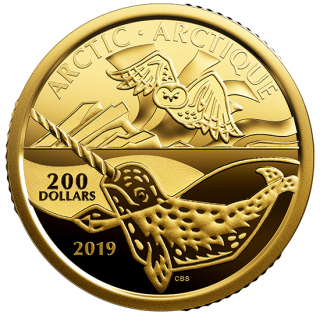 2019 - $200 - 1 oz. 99.999% Pure Gold Coin - Canadian Coastal Symbols: The Arctic