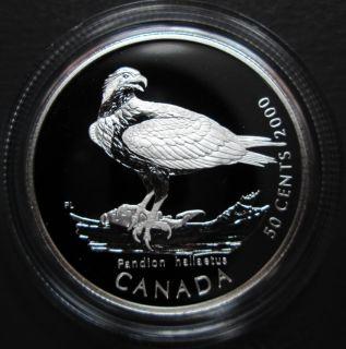2000 Canada 50 Cents Sterling Silver - Osprey - Canada's Birds of Prey