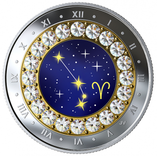 2019 - $5 - 2019 Aries: Zodiac Series - Pure Silver Coin made with Swarovski® Crystals