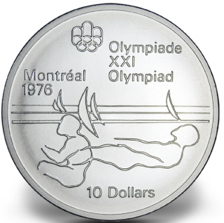 1976 - #19 (1975) - $10 - Sterling Silver Coin, Montreal Summer Olympic Games, Sailing