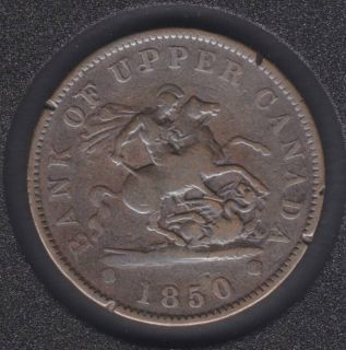 P.C. 1850 One Penny Bank Token - PC6A1 - Rim Nick