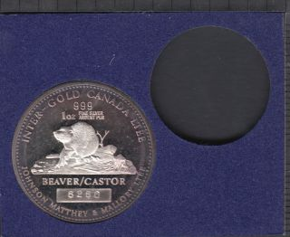 1979 - Johnson Matthey one ounce .9999 silver beaver Queen Victoria set no Gold Coin with Certificate