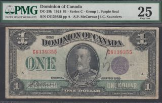 1923 $1 Dollar - VF 25 - Dominion of Canada - PMG