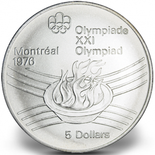 1976 - #28 - $5 - Sterling Silver Coin, Montreal Summer Olympic Games, Olympic Flame