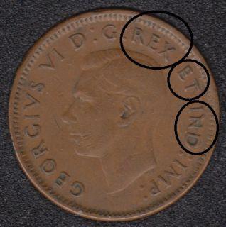 1945 - Double REX ET IND - Canada Cent