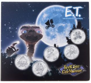 2002 Collection Ciné Monnaie - 5 Médaillons & Autocollants - E.T. - Extra Terrestre