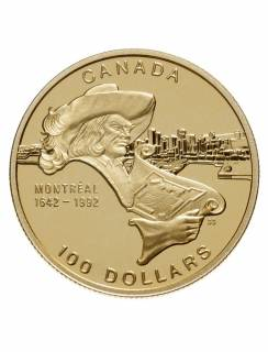 1992 - $100 - Gold 14 Karats - 350th Anniv. City of Montreal