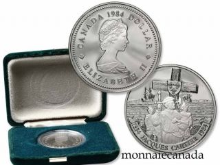 1984 $1 Dollar Nickel Jacques Cartier Proof Finish with Original Box