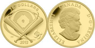 2013 - $75 - 1/4 oz Fine Gold Coin - Baseball Diamond