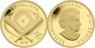 2013 - $75 - Pièce de 1/4 oz en or fin – Baseball champ intérieur
