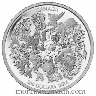 2014 - $200 for $200 - 2 oz. Fine Silver Coin - Towering Forests