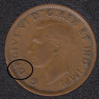 1943 - Break Between O & R - Canada Cent