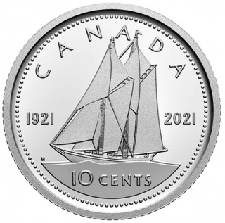 2021 - 1921 - Proof - Fine Silver - Canada 10 Cents